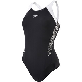 speedo Boom Splice Muscleback Swimsuit Damer, black/white